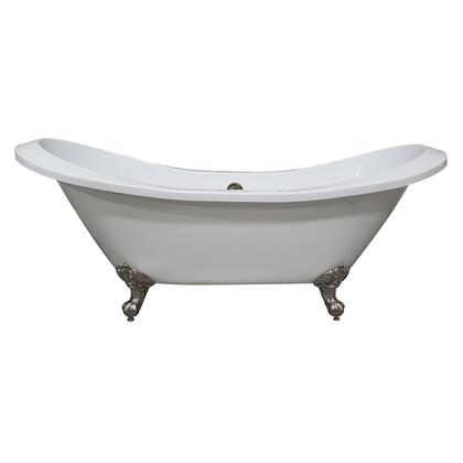 ADESXL-NH-BN Extra Large Acrylic Double Slipper Clawfoot Tub  Brushed Nickel Feet and No Faucet