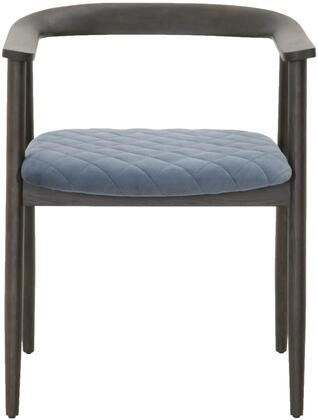 District Collection 4562.CBLU/ABRN Bina Accent Arm Chair with Tapered Legs  Diamond Stitching Seat Cushion  Cast Blue Velvet Polyester Upholstery and