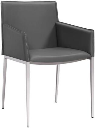 Whiteline Daphne DAC1392PGRY Dining Room Chair Gray, DAC1392P-GRY Side View