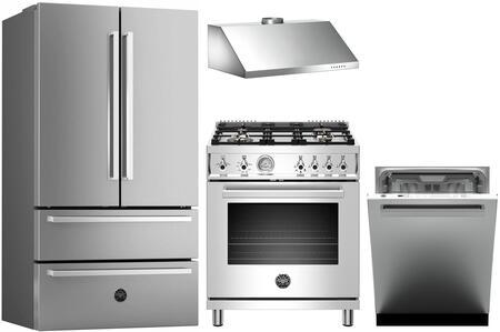 4 Piece Kitchen Appliances Package with REF36X 36″ French Door Refrigerator  PROF304GASXT 30″ Gas Range  KU30PRO1X14 30″ Wall Mount Convertible Hood