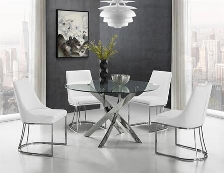 Casabianca GALAXY CBF2133CSET Dining Room Set Silver, 5 PC Set
