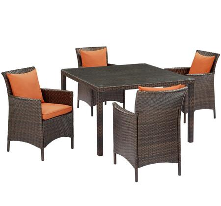 Conduit Collection EEI-3893-BRN-ORA-SET  5 Piece Outdoor Patio Wicker Rattan Set with Powder-Coated Aluminum Frame  Synthetic PE Rattan Weave and