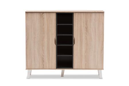 Wholesale Interiors Adelina SESC16105HANAOAKDARKGREYSHOECABINET Shoe Rack Brown, SESC16105-Hana Oak/Dark Grey-Shoe Cabinet front
