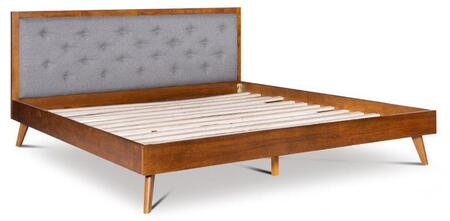 BD56KGRY01AB Reid Collection Platform King Bed with Button tufted upholstered headboard and Veneer Frame in Walnut