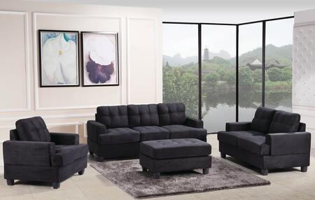 Glory Furniture G515ASET Living Room Set Black, 3 PC Set