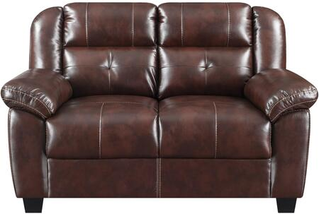 U17016-AGNES COFFEE-LS Loveseat Agnes Coffee with Faux Leather Upholstery Split Back Cushion and Plush Padded Arms in