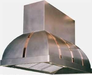 RangeCraft  CMTACONIC Island Mount Range Hood Custom Color, Shown in Stainless Steel with Mirror Copper Bands