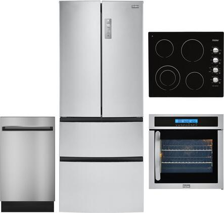 4 Piece Kitchen Appliances Package with HRF15N3AGS 28″ French Door Refrigerator  24″ Electric Single Wall Oven  HCC2220BEB 24″ Electric Cooktop and