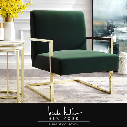 Xzavier Collection NAC104-02GN-AC Accent Chair with Square Arm  Stainless Steel Frame and Velvet Upholstery in Green and Gold