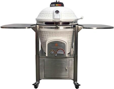 CG801WHITE 62″ 800 Series Kamado Grill on Cabinet Cart with 714 sq. in. Cooking Area  Pull-Out Ash Drawer  Color-Coded HeatZone Electric Starter Port