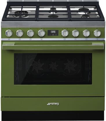 Smeg Portofino CPF36UGMOG Freestanding Dual Fuel Range Green, CPF36UGMOG
