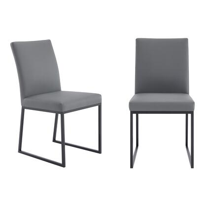 LCTRCHMBGR Trevor Contemporary Dining Chair in Matte Black Finish and Grey Faux Leather – Set of