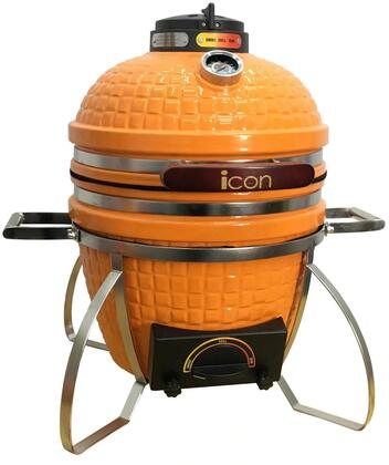 CG101ORANGE 22″ 100 Series Table Top Kamado Grill with 217 sq. in. Cooking Area  Pull-Out Ash Drawer  Color-Coded HeatZone Controls and Lava Stone in