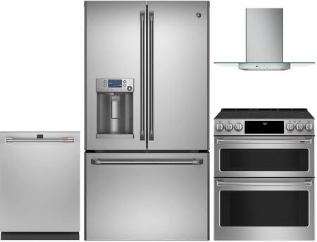 4 Piece Appliances Package with CFE28TSHSS 36″  French Door Refrigerator  CES750P2MS1 30″ Slide-in Electric Range  CVW73012MSS 30″ Wall Mount Ducted