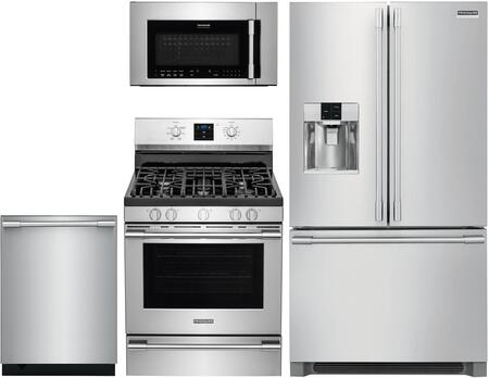 4 Piece Kitchen Appliances Package with FPBS2778UF 36″ French Door Refrigerator  FPGF3077QF 30″ Gas Range  FPBM3077RF 30″ Over the Range Microwave