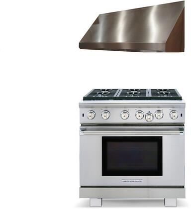 2 Piece Kitchen Appliances Package with ARROB636L 36″ Liquid Propane Range and MAES3618SS600B 36″ Under Cabinet Convertible Hood in Stainless