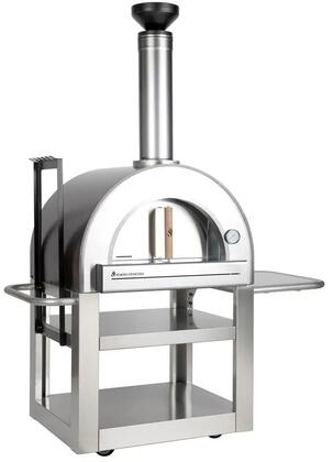FVP500-C Pronto Freestanding Wood Burning Pizza Oven with 24″ x 20″ Cooking Surface  Fire Brick Hearth  Designer Chimney Cap  Built In Thermometer