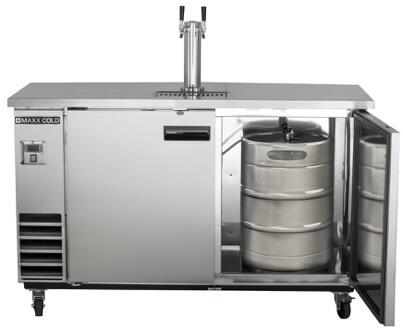 MXBD60-1S 62″ X-Series Keg Cooler with 14.2 cu. ft. Capacity  Single Tower  4″ Casters and Self-Contained Forced Air Refrigeration System in