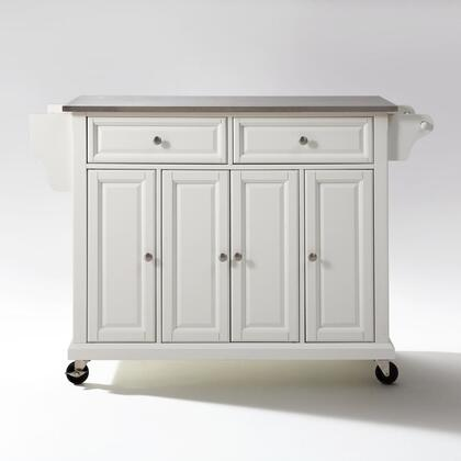 Full Size Kitchen Collection KF30002EWH Full Size Stainless Steel Top Kitchen Cart in White