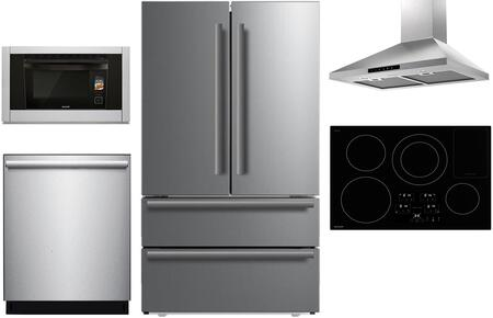 5 Piece Kitchen Appliances Package with SJG2351FS 36″ Counter Depth 4 Door French Door Refrigerator  SSC3088AS 30″ Electric Single Wall Steam Oven