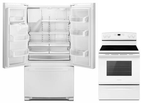 """2-Piece Kitchen Appliances Package With AER6303MFW 30"""" Gas Range and AFI2539ERW 36"""" French Door Refrigerator in"""