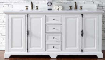 Providence Collection 238-105-V72-CWH-3CLW 72″ Double Vanity Cabinet  Cottage White  with 3 CM Classic White Quartz Top with