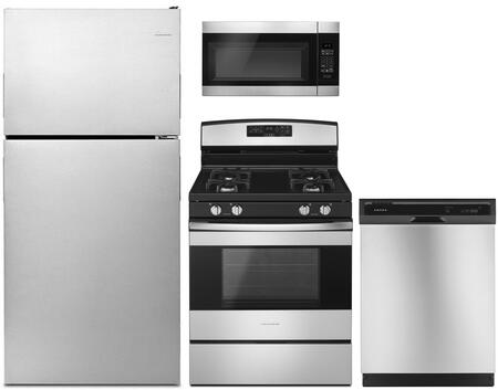 4 Piece Kitchen Appliances Package with ART308FFDM 30″ Top Freezer Refrigerator  AGR6603SFS 30″ Gas Range  AMV2307PFS 30″ Over the Range Microwave