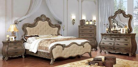 Furniture of America Cursa CM7664QBEDNSCHDRMR Bedroom Set Brown, CM7664Q-BED-NSCHDRMR