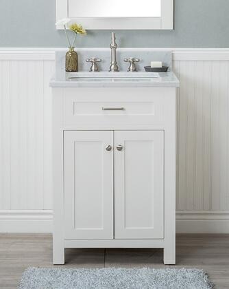 Alya Bath Norwalk HE10124WCWMT Sink Vanity White, HE-101-24-W-CWMT front