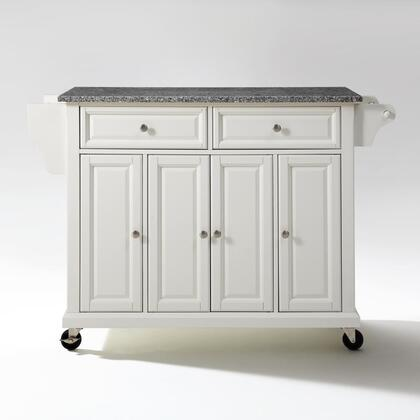Full Size Kitchen Collection KF30003EWH Full Size Granite Top Kitchen Cart in White