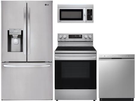 4 Piece Kitchen Appliances Package with LFXC22526S 36″ French Door Refrigerator  LRE3194ST 30″ Electric Range  LMV1831ST 30″ Over the Range Microwave