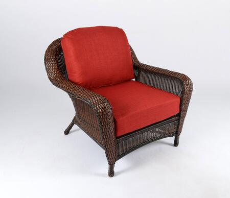Sea Pines Collection LEX-C1-J-RAVEC Club Chair in Java Wicker and Rave Cherry Fabric