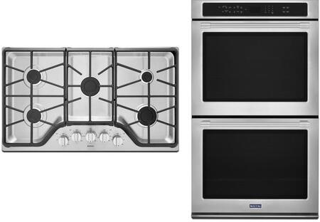 2 Piece Kitchen Appliances Package with MEW9627FZ 27″ Electric Double Wall Oven and MGC7536DS 36″ Gas Cooktop in Stainless