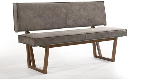 Calico Collection CB-976GR 62″ Bench with Top Commercial Grade Materials  Walnut Veneer Material and Faux Leather Upholstery in Brown