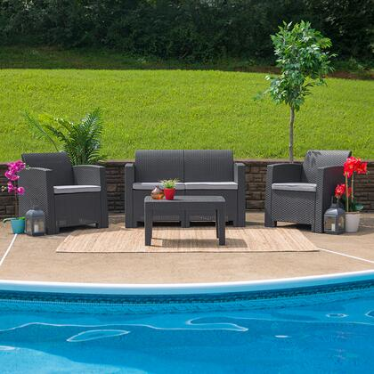 DAD-SF-112T-DKGY-GG 4 Piece Outdoor Faux Rattan Chair  Loveseat and Table Set in Dark