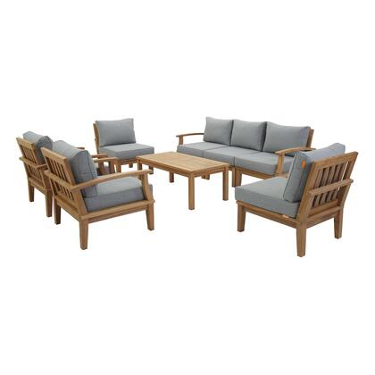 Marina Collection EEI-1479-NAT-GRY-SET 8 PC Outdoor Patio Teak Set in Natural Grey