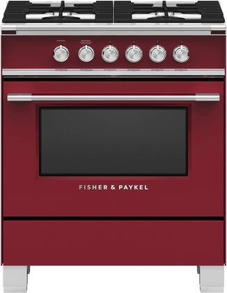 Fisher Paykel Classic OR30SCG4R1 Freestanding Gas Range Red, Front view