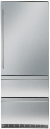 30″ Bottom Freezer Refrigerator with 84″ Height Door Panels and Tubular Handle in Stainless