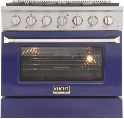 KNG361/LP-B 36″ Blue Freestanding Liquid Propane Range with 6 Burners  5.2 cu. ft. Capacity Oven  Manual Convection Cooking Mode  Blue Porcelain Oven