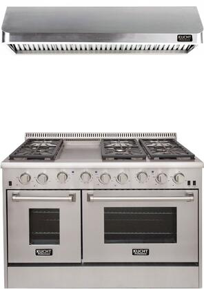 """Professional Series 2-Piece Kitchen Appliances Package with KRD486F 48"""" Dual Fuel Gas Range and KRH4802U 48"""" Push Button Control Hood in Stainless"""
