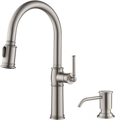 Sellette Series KPF-1682SFS-KSD-80SFS Traditional Single Handle Pull-Down Kitchen Faucet with Soap Dispenser and Deck Plate in Spot Free Stainless