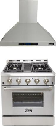 """Professional Series 2 Piece Kitchen Appliances Package with KRD306F 30"""" Natural Gas Dual Fuel Range and KRH3010A 30"""" Chimney Wall Mount Hood in"""