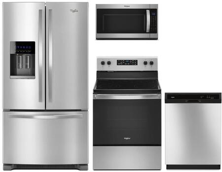 4 Piece Kitchen Appliances Package with WRF555SDFZ 36″ French Door Refrigerator  WFE505W0JZ 30″ Electric Range  WMH53521HZ 30″ Over the Range