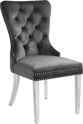 Carmen 743GREY-C 21.5″ Dining Chair (Set of 2) with Nail Head Accents  Button Tufting and Velvet Upholstery in