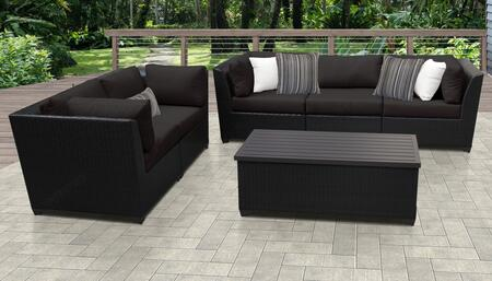 Barbados Collection BARBADOS-06p-BLACK Barbados 6-Piece Patio Set 06p with 4 Corner Chair   1 Armless Chair   1 Storage Coffee Table – Wheat and
