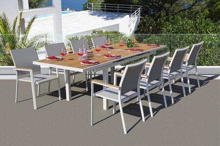 Fine Line Essence Collection GR01409WTB2039T 9 Piece Outdoor Dining Set with Cosmopolitan Teak Extension Table  Teak Wood Armrest  Umbrella Hole