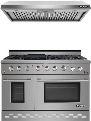 """2 Piece Kitchen Appliances Package with SC4811 48"""" Gas Range and EH4819 48"""" Pro Style Under Cabinet Ducted Hood in Stainless"""