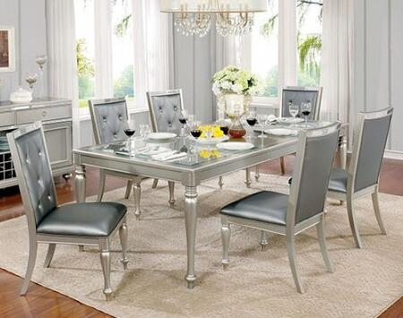 Furniture of America Sarina CM3229T6SC Dining Room Set Gray, main image