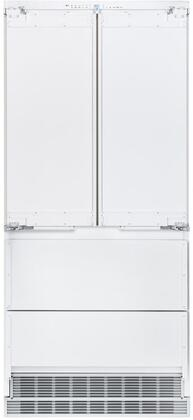 36″ French Door Refrigerator with 84″ Door Panels and Tubular Handles in Stainless