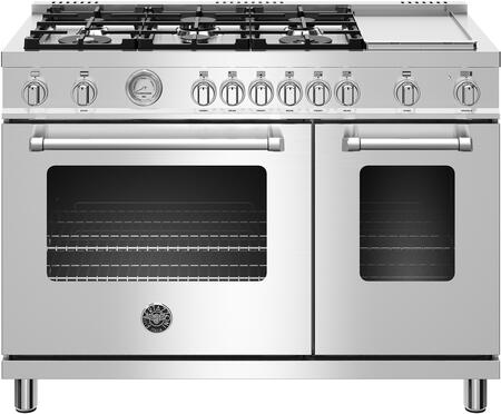 MAST486GDFMXE 48″ Master Series Dual Fuel Range with 6 Aluminum Burners  Griddle  Soft Motion Hinges with Auto Soft Close  in Stainless